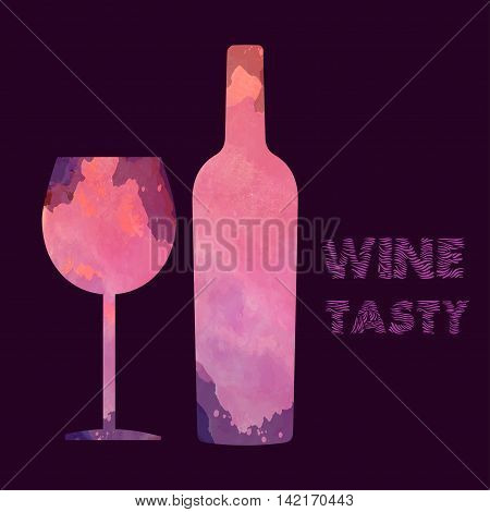 Wine tasting card with colored bottle and a glass over a burgundy background. Digital vector image.