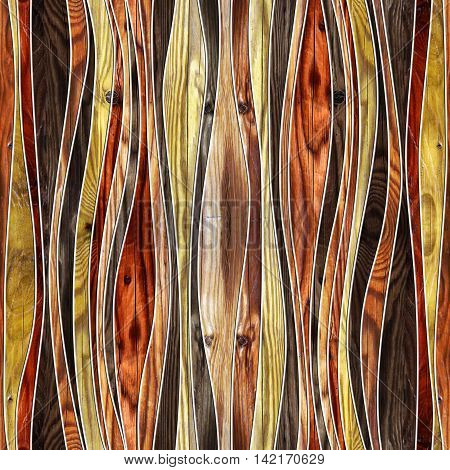 Seamless abstract wooden pattern waves cherry veneer