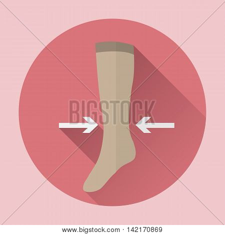 Medical compression hosiery female vector web icon.