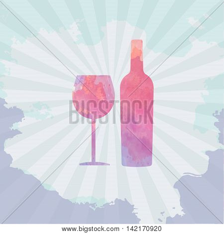 Wine tasting card with colored bottle and a glass over a light splash painted background. Digital vector image.