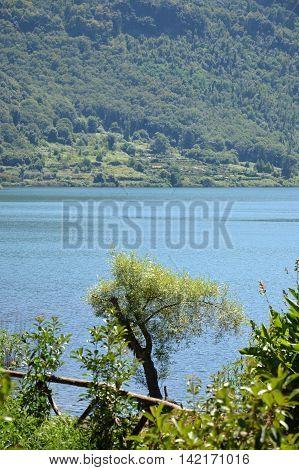 The volcanic Lake Nemi in the Castelli Romani in Lazio