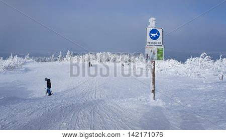 Sledding hill at Fichtelberg in the Ore Mountains Germany, snowy winter landscape