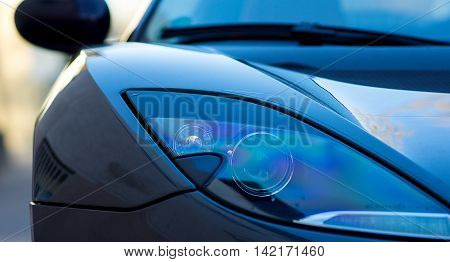 Corvette fast Sports car light front view