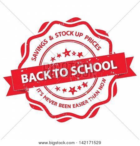 Back to school. Savings and stock up prices. It's never been easier than now - elegant label with cap, also for print (CMYK colors used)