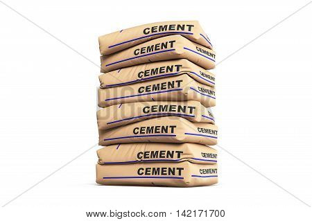 Cement bags. Paper sacks isolated on white background