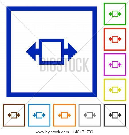 Set of color square framed width tool flat icons