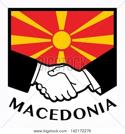 Macedonia flag and business handshake, vector illustration