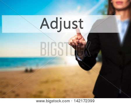 Adjust - Isolated Female Hand Touching Or Pointing To Button