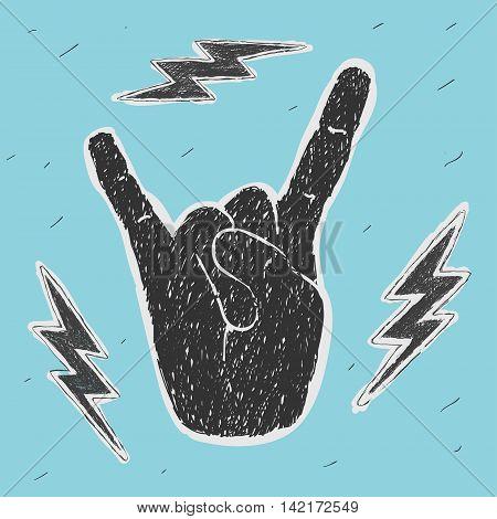 The Hand Symbol Heavy Metal Vector Illustration