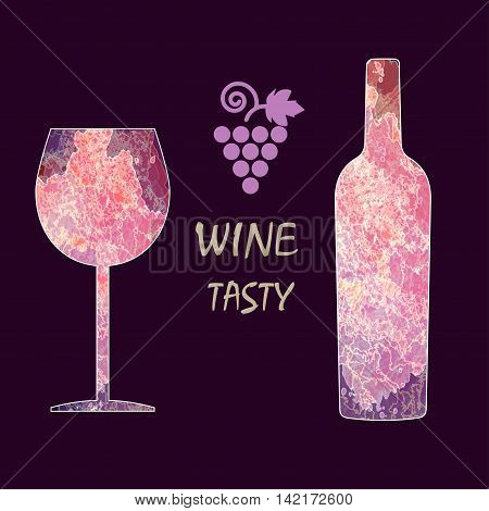 Wine tasting card with colored bottle a grape and a glass over a dark burgundy background. Digital vector image.