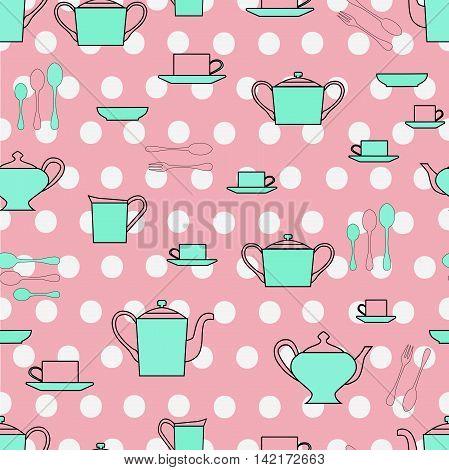 Seamless pattern utensil. Kitchen staff plates, cups, cutlery and tea set.