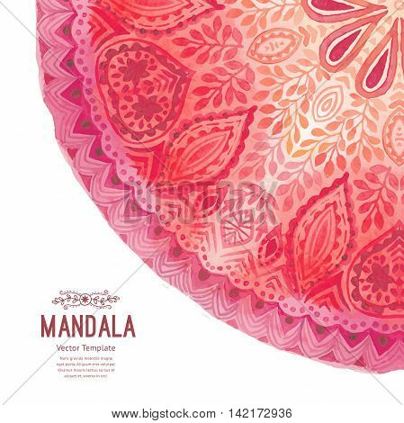 Watercolor mandala. Decor for your design, lace ornament in form of round corner in oriental style.