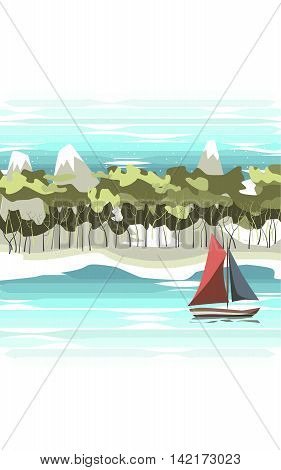 The landscape. On the river floats sailing ship with red and blue sails . On the shore of the beach ,followed by forest and mountains with snowy peaks.
