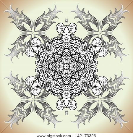 decorative light monochrome rosette with ethnic ornament on a dark grey and black background