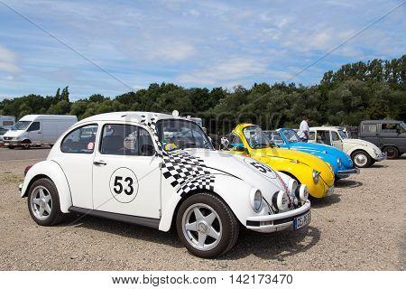 Celle, Germany - August 7, 2016: Several Volkswagen Kaefer at the annual Kaefer Meeting