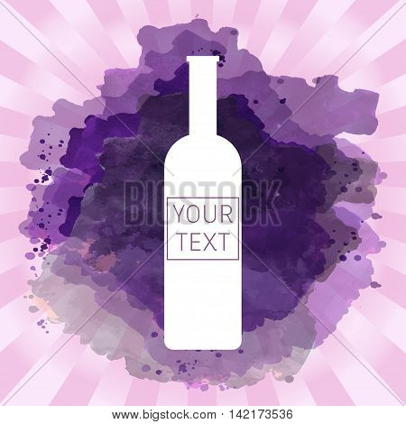 Wine tasting card with your text with white bottle over a pink splash painted background. Digital vector image.