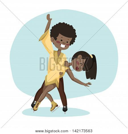 African American skaters on the ice. Boy and girl slip.