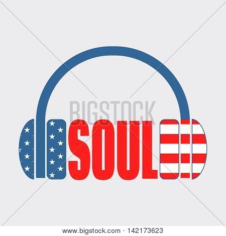Silhouettes of headphones with soul text. Textured by USA flag