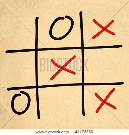 illustration tic tac toe XO game on paper