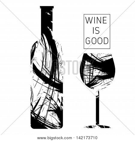 Wine tasting card in black outlines with a bottle and a glass over a white background. Digital vector image.
