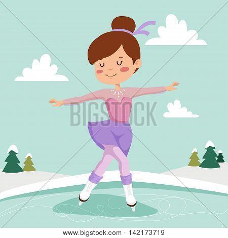 Girl on skates. Figure skating girl training on the ice.