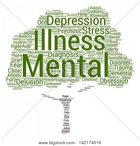 Concept conceptual mental illness disorder management or therapy abstract tree word cloud isolated on background