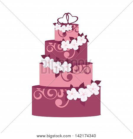 Vector  violet wedding cake with decoration flowers vector illustration isolated on white background.