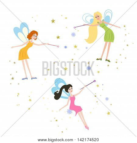 Set of cartoon fairies vector illustration. Illustration of Fairy for children, kids. Fairy with a magic wand.