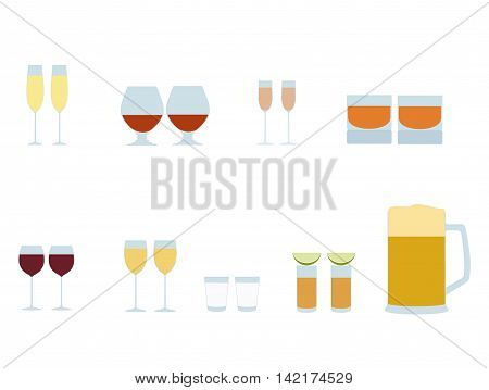 Vector set of Colored  different alcohol  glasses icons. Set of glasses of champagne, brendy, liqueur, whiskey, red wine, white wine, vodka, tequila, beer