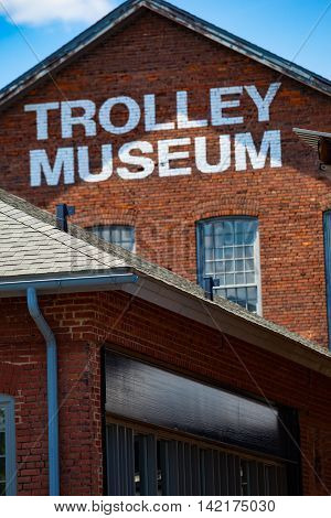 Scranton PA - June 20 2013: The Electric City Trolley Museum displays and operates restored trolleys on former lines of the Lackawanna and Wyoming Valley Railroad.