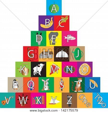 Children's Alphabet Building Bricks isolated on white