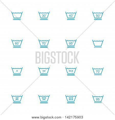 Washing instruction line blue icons Laundry line blue icons