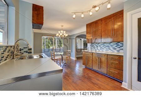 Kitchen With Dining Room Interior And Hardwood Floor