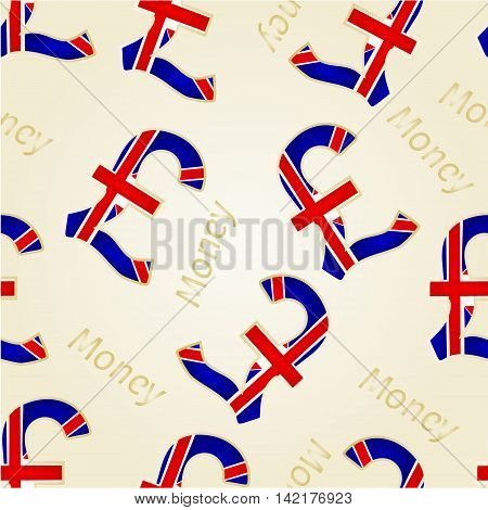 Seamless texture Money- The British Pound illustration