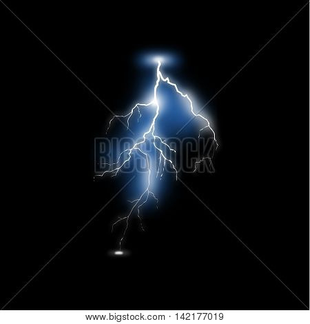Realistic lightning on black background vector for use