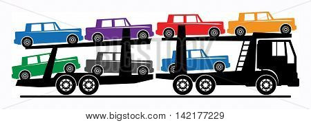 Car carrier truck deliver new auto, vector illustration
