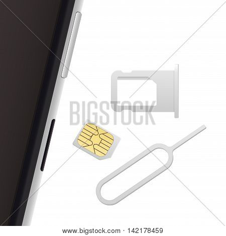 Smartphone Small Nano Sim Card Sim Card Tray and Eject Pin. Vector objects isolated on white. Realistic vector icons. Top view
