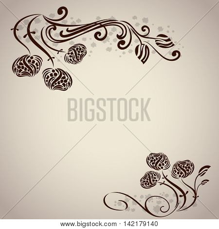 Floral branches vector background with copy space.