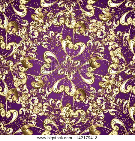 Seamless vintage pattern on lilac background with golden elements.