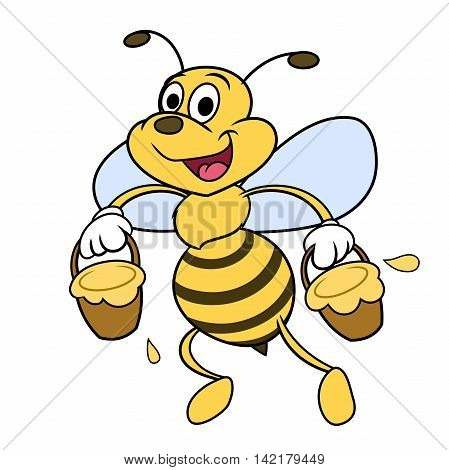 Illustration of the funny cheerful bee carrying honey