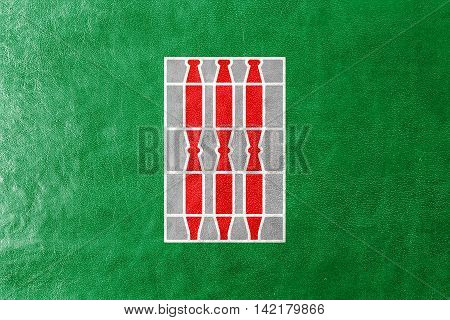 Flag Of Umbria Region, Italy, Painted On Leather Texture