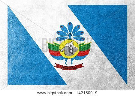 Flag Of Vila Pavao, Espirito Santo State, Brazil, Painted On Leather Texture