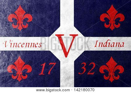 Flag Of Vincennes, Indiana, Usa, Painted On Leather Texture