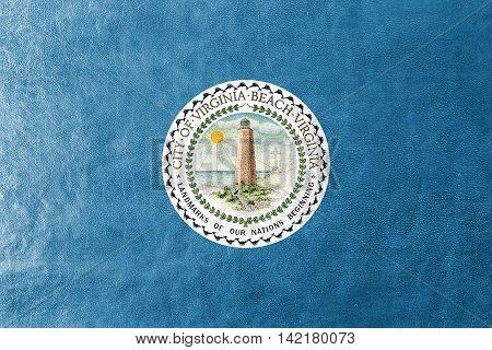 Flag Of Virginia Beach, Virginia, Usa, Painted On Leather Texture