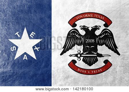 Flag Of Von Ormy, Texas, Usa, Painted On Leather Texture