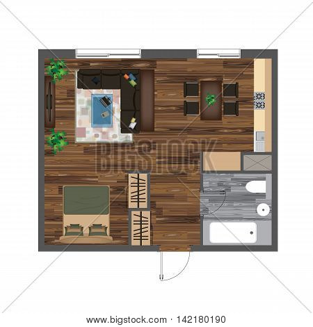 Architectural Color Floor Plan. Studio Apartment Vector Illustration. Top View Furniture Set. Living room, Kitchen, Bathroom. Sofa, Armchair, Bed, Dining Table Chair Carpet.