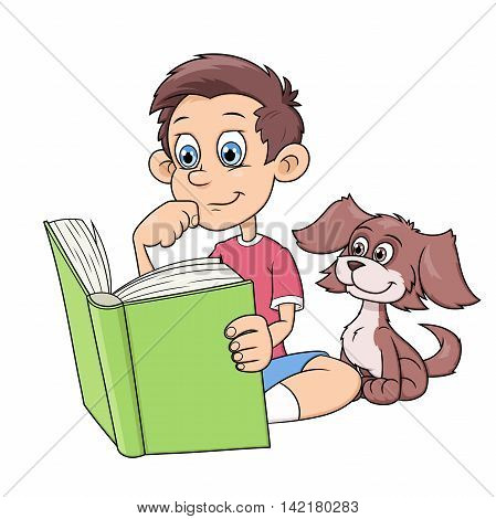 Illustration of the little boy and his puppy reading a big interesting book