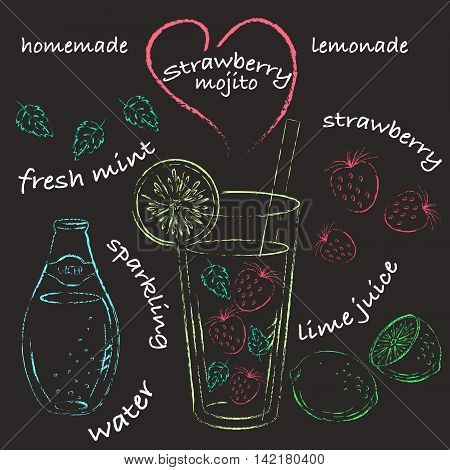 Vector chalk illustration. Strawberry mojito recipe with ingredients. Colored chalk lime strawberry mint water glass.