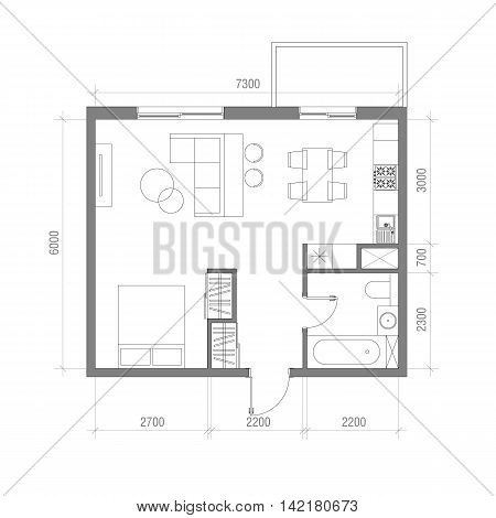 Architectural floor plan with dimensions studio apartment vector illustratio - Dimension table 4 personnes ...