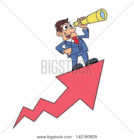 Illustration of the businessman looking through a telescope on growth arrow